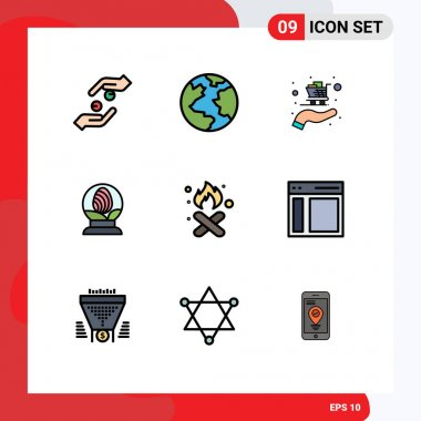 Stock Vector Icon Pack of 9 Line Signs and Symbols for garbage, burn, buy, easter, globe Editable Vector Design Elements icon