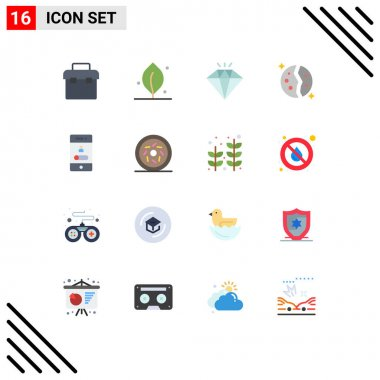 Set of 16 Modern UI Icons Symbols Signs for phone, calling, jewel, space, galaxy Editable Pack of Creative Vector Design Elements icon