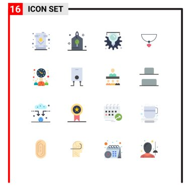 Set of 16 Modern UI Icons Symbols Signs for meeting, gift, party, heart, process Editable Pack of Creative Vector Design Elements icon