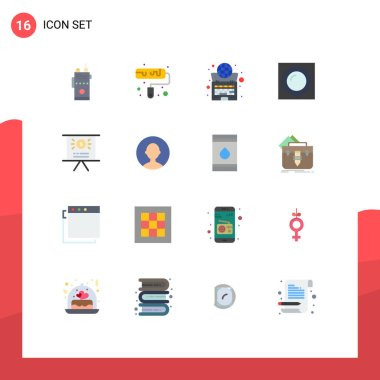 Universal Icon Symbols Group of 16 Modern Flat Colors of business, light, global, lamp, laptop Editable Pack of Creative Vector Design Elements icon