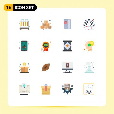 Stock Vector Icon Pack of 16 Line Signs and Symbols for game, app, fridge, gear, creative Editable Pack of Creative Vector Design Elements icon