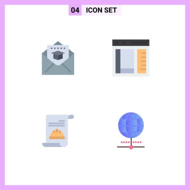 Pack of 4 creative Flat Icons of cap, invitation, mail, develop, hat Editable Vector Design Elements icon
