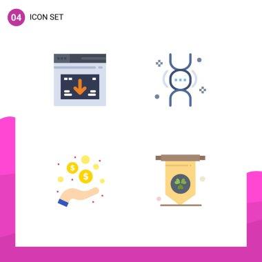 Pack of 4 creative Flat Icons of internet, hand, website, genetics, money Editable Vector Design Elements icon