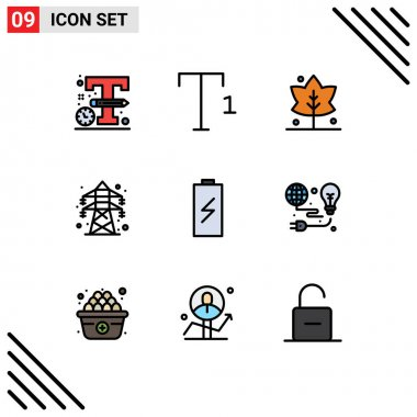 Stock Vector Icon Pack of 9 Line Signs and Symbols for electricity, charging, giving, charge, transmission tower Editable Vector Design Elements icon