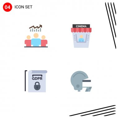 Pack of 4 creative Flat Icons of group, gdpr, chart, movie, rules Editable Vector Design Elements icon