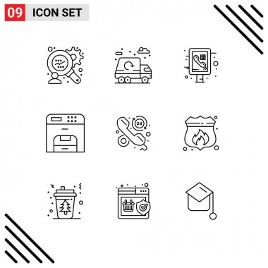 Stock Vector Icon Pack of 9 Line Signs and Symbols for hours, faq, phone, customer, machine Editable Vector Design Elements icon