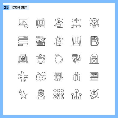Stock Vector Icon Pack of 25 Line Signs and Symbols for light, sunshade, lifestyle, restaurant, beach Editable Vector Design Elements icon