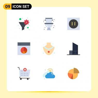 Stock Vector Icon Pack of 9 Line Signs and Symbols for diamond, pie, appliances, layout, chart Editable Vector Design Elements icon