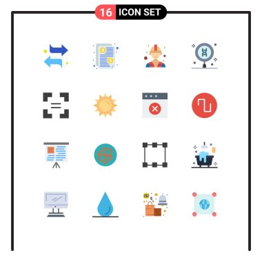 Universal Icon Symbols Group of 16 Modern Flat Colors of arrow, search, builder, science, dna Editable Pack of Creative Vector Design Elements icon