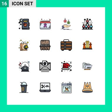 Stock Vector Icon Pack of 16 Line Signs and Symbols for bag, top, hand, star, position Editable Creative Vector Design Elements icon
