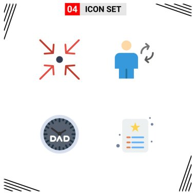 Flat Icon Pack of 4 Universal Symbols of arrow, family time, avatar, sync, timepiece Editable Vector Design Elements icon