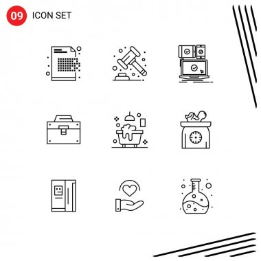 Stock Vector Icon Pack of 9 Line Signs and Symbols for material, box, banking, bag, responsive Editable Vector Design Elements icon