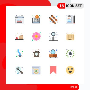 16 Creative Icons Modern Signs and Symbols of cleaning, plan, food, notepad, document Editable Pack of Creative Vector Design Elements icon