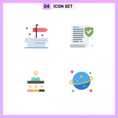 Stock Vector Icon Pack of 4 Line Signs and Symbols for ship, office, insurance, meeting, saturn Editable Vector Design Elements icon