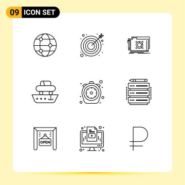 Stock Vector Icon Pack of 9 Line Signs and Symbols for food, vessel, lock, transport, cargo Editable Vector Design Elements icon