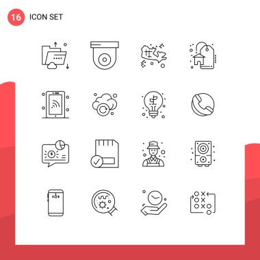 Stock Vector Icon Pack of 16 Line Signs and Symbols for technology, network, map, sale, discount Editable Vector Design Elements icon