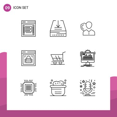 Modern Set of 9 Outlines Pictograph of page lock, shield, tray, protection, person Editable Vector Design Elements