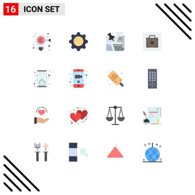 16 Creative Icons Modern Signs and Symbols of service, lift, mirror, baggage, pin Editable Pack of Creative Vector Design Elements icon