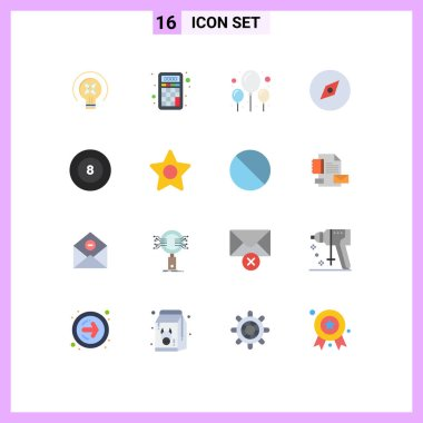 16 Creative Icons Modern Signs and Symbols of star, billiard, balloon, ball, map Editable Pack of Creative Vector Design Elements icon