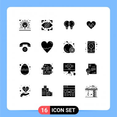 Stock Vector Icon Pack of 16 Line Signs and Symbols for call, pulse, idea, heartbeat, medical Editable Vector Design Elements icon