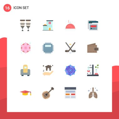 16 Creative Icons Modern Signs and Symbols of colorful flowers, web, medical, template, service Editable Pack of Creative Vector Design Elements icon