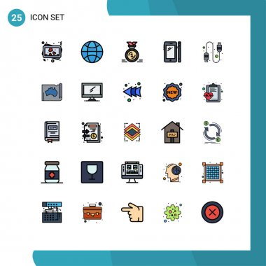 Stock Vector Icon Pack of 25 Line Signs and Symbols for connection, pen, first, huawei, smart phone Editable Vector Design Elements icon