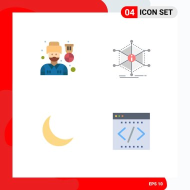 Set of 4 Commercial Flat Icons pack for driver, moon, man, info, sleep Editable Vector Design Elements icon