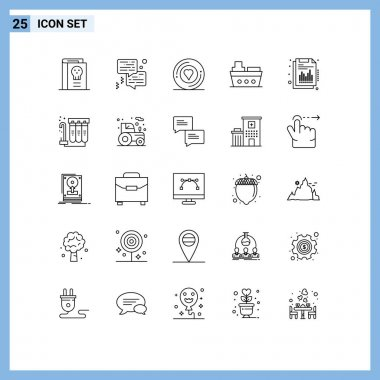 Stock Vector Icon Pack of 25 Line Signs and Symbols for annual, sea, printer, marine, sticker Editable Vector Design Elements icon
