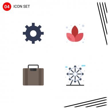 Flat Icon Pack of 4 Universal Symbols of gear, city, lotus, briefcase, park Editable Vector Design Elements icon