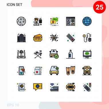 Stock Vector Icon Pack of 25 Line Signs and Symbols for achievement, video, professional, design, pin Editable Vector Design Elements icon