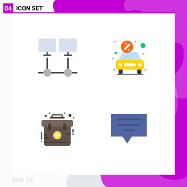 Stock Vector Icon Pack of 4 Line Signs and Symbols for connect, rent, network, discount, emergency Editable Vector Design Elements icon