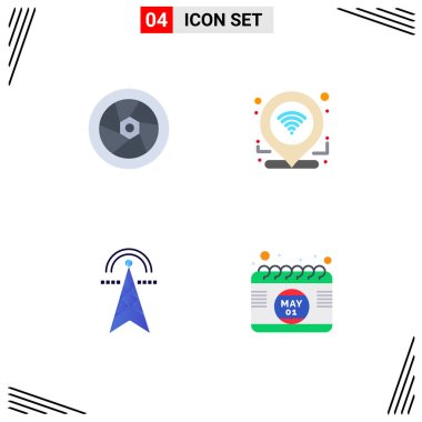 Pack of 4 creative Flat Icons of cinema, electricity, television, location, tower Editable Vector Design Elements icon