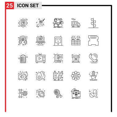 Stock Vector Icon Pack of 25 Line Signs and Symbols for garden, truck, group, transport, online Editable Vector Design Elements icon