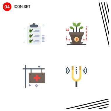Stock Vector Icon Pack of 4 Line Signs and Symbols for checklist, clinic, wishlist, investment, health Editable Vector Design Elements icon