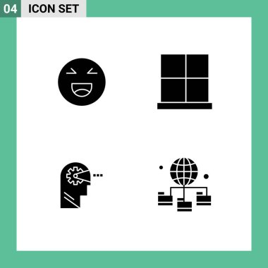 Stock Vector Icon Pack of 4 Line Signs and Symbols for chat, cognitive, happy, gate, mind Editable Vector Design Elements icon