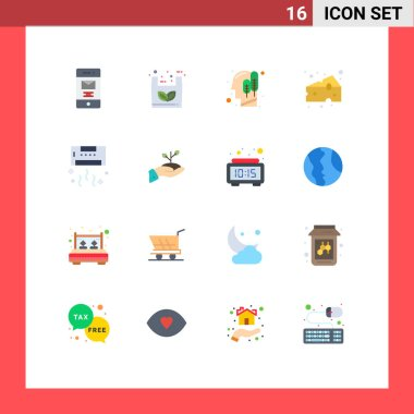 16 Creative Icons Modern Signs and Symbols of conditioner, supermarket, ecology, food, cheese Editable Pack of Creative Vector Design Elements icon