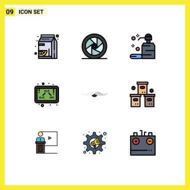Universal Icon Symbols Group of 9 Modern Filledline Flat Colors of moustache, formula, superstar, ethanol, soap Editable Vector Design Elements icon