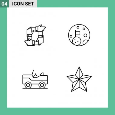 Stock Vector Icon Pack of 4 Line Signs and Symbols for teamwork, planet, hands, moon, vehicle Editable Vector Design Elements icon