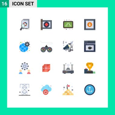 Set of 16 Modern UI Icons Symbols Signs for gear, download, health, box, formula Editable Pack of Creative Vector Design Elements icon