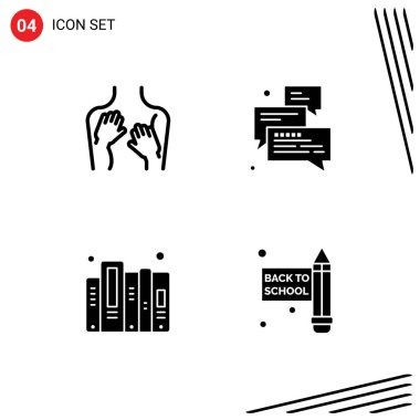 Stock Vector Icon Pack of 4 Line Signs and Symbols for beauty, arrow, spa, chat, data Editable Vector Design Elements icon