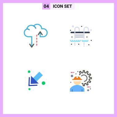 4 User Interface Flat Icon Pack of modern Signs and Symbols of cloud, architect, city, arrow, engineer Editable Vector Design Elements icon