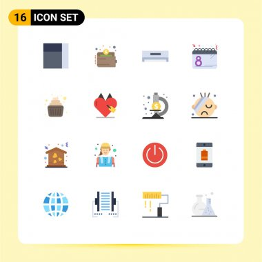Set of 16 Modern UI Icons Symbols Signs for family, baby, electric, date, plan Editable Pack of Creative Vector Design Elements icon