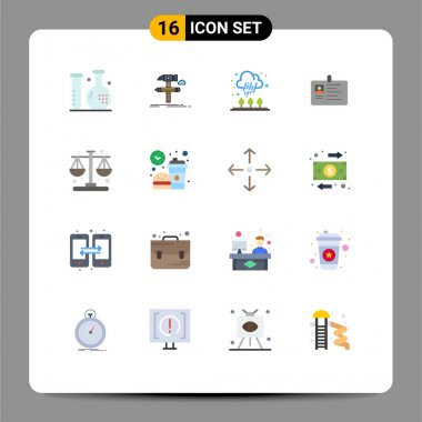 16 Creative Icons Modern Signs and Symbols of id, business, tool, card, rain Editable Pack of Creative Vector Design Elements icon