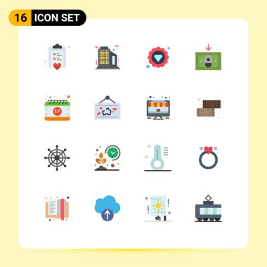 Stock Vector Icon Pack of 16 Line Signs and Symbols for shamrock, event, quality, date, money Editable Pack of Creative Vector Design Elements icon