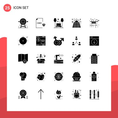 Universal Icon Symbols Group of 25 Modern Solid Glyphs of solar, battery, document, travel, public Editable Vector Design Elements icon