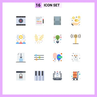 Set of 16 Modern UI Icons Symbols Signs for agriculture, economist, movi, capitalist, marketing fees Editable Pack of Creative Vector Design Elements icon