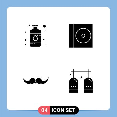 Stock Vector Icon Pack of 4 Line Signs and Symbols for art, hipster, paint, compact, male Editable Vector Design Elements icon