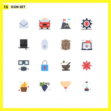 Stock Vector Icon Pack of 16 Line Signs and Symbols for hipster, fashion, flag, gear, programming interface Editable Pack of Creative Vector Design Elements icon