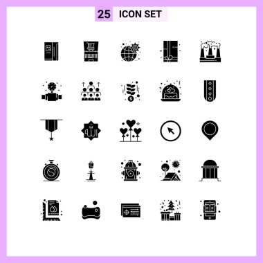 Set of 25 Modern UI Icons Symbols Signs for production, factory, gear, gift box, gift pack Editable Vector Design Elements icon