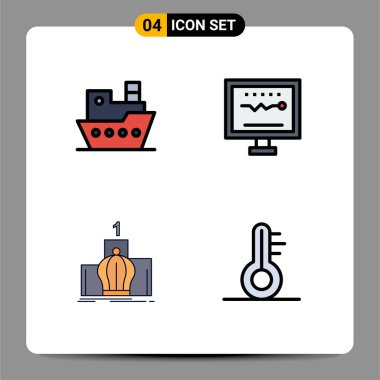 Stock Vector Icon Pack of 4 Line Signs and Symbols for ship, crown, vessel, health, leadership Editable Vector Design Elements icon